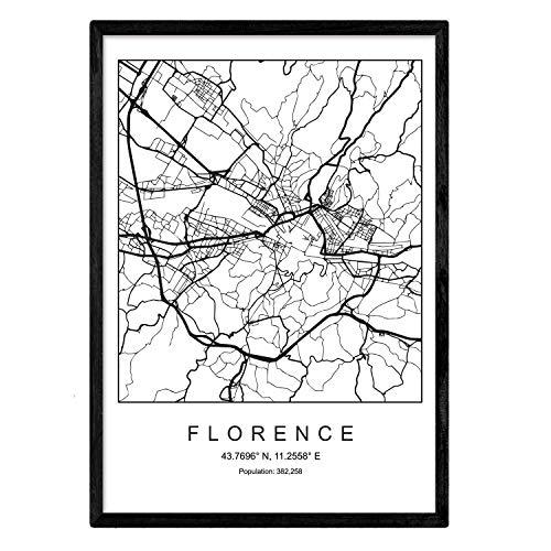 Nacnic Kunstdruck Florenz Stadtplan nordischen Stil schwarz und weiß. Plakatrahmen A4 Bedruckte Papier Keine 250 gr. Gemälde, Drucke und Poster für Wohnzimmer und Schlafzimmer