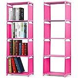 Yaheetech 2 Stück 4 Fächer Bücherregal Standregal Aufbewahrung aus Stahl und Kunststoff 125 x 40 x 28 cm