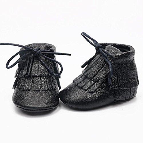 kingko® Bébé Tout d'hiver chauds Chaussures Mocassins Tassel Firstwalker Bottes Chaussures en cuir Noir