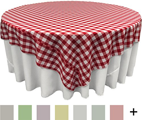 LA Linen Poly Checkered Square Tablecloth, 90 by 90-Inch ...