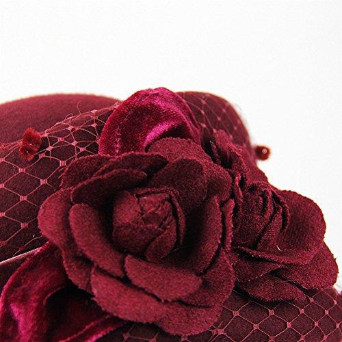 Maitose® Fleurs décoratives Laine Beret des femmes Vin rouge