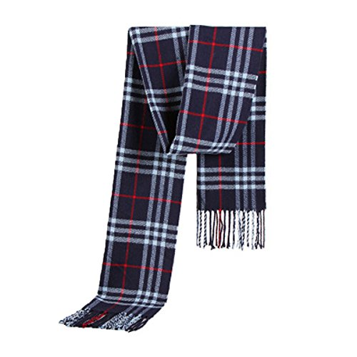 OGERT Angleterre Mode D'hiver Classique Plaid écharpe Hommes Foulards Chauds Twill blue