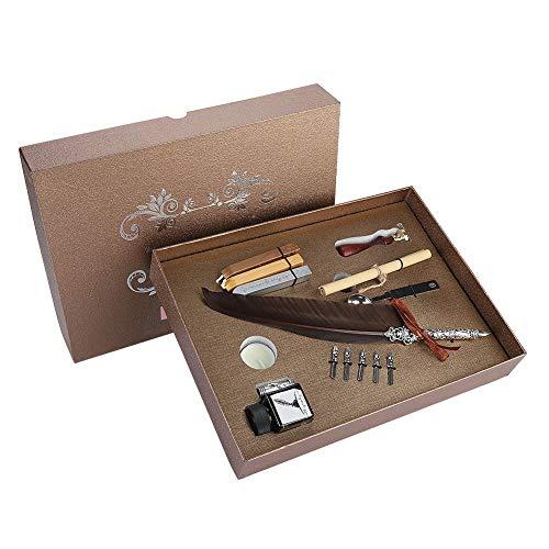 VBESTLIFE Schreibfeder, Vintage Retro Kalligraphie Feder Dip Pen mit 5 Nibs, Wachs und Leere Tinte Flasche Schreibwaren Geschenk Box Set(Dunkelbraun)