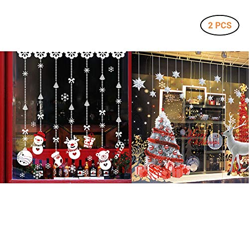 Comtervi 2pcs Weihnachts Aufkleber-Schöne White Christmas Tree Deer und Weihnachten Removable Snow Ball Wandaufkleber Wandbilder für Shop Home Wand Fenster Xmas Aufkleber Dekorationen (1)