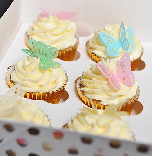 Schöne 3D-Schmetterlinge aus essbarem Oblaten-Papier, Kuchen Dekoration, 6von jeder Farbe (Rosa, Blau, Grün, Gelb), 24 Stück