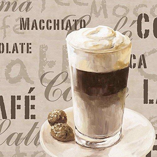 Artland Küchenrückwand Küchenspiegel Sicherheits-Glas mit Motiv Jule Kaffee - Latte Macchiato Ernährung & Genuss Getränke Kaffee Graphische Kunst Creme A5ZG