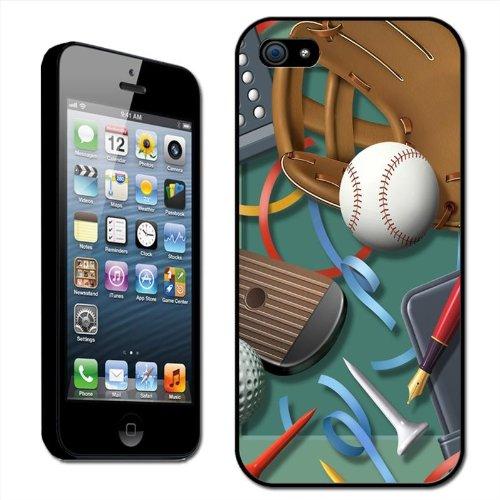 Fancy A Snuggle Hartschalenhülle für Apple iPhone 5 (aufsteckbar Motiv 'Work and No Play? / Baseball, Baseballhandschuh, Golfball mit Büromaterialien')