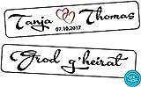 Original KFZ-Kennzeichen Hochzeit Autoschilder Hochzeitsschilder Hochzeitsschild Namensschilder Grod g'heirat mit