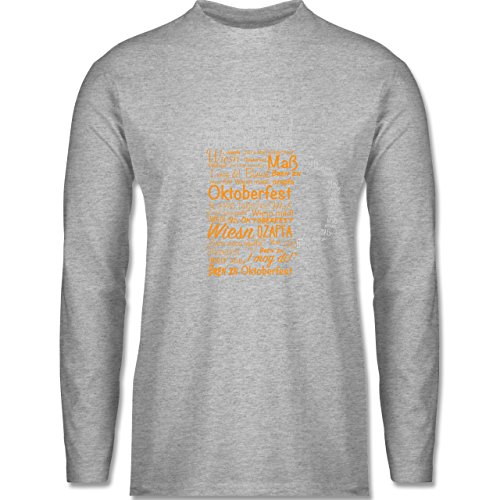 Oktoberfest Herren - Oktoberfest Maß - Longsleeve / langärmeliges T-Shirt für Herren Grau Meliert