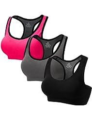 CARETOO Sport BHS für Frauen Racerback Medium High Impact Sport Fitness Yoga 3 Packs