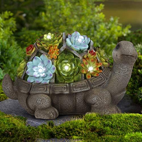 GIGALUMI Solar Gartenfiguren Schildkröte aus Kunstharz 7 LED Tierfigur LED Solar Gartenleuchte Gartenskulptur für Außen Rasen Balkon Terrasse Hof