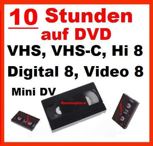10 Stunden VHS,VHS-C,Digital 8,Hi8, MiniDv,Digitalisieren auf DVD - Player Kassette Video Hi8