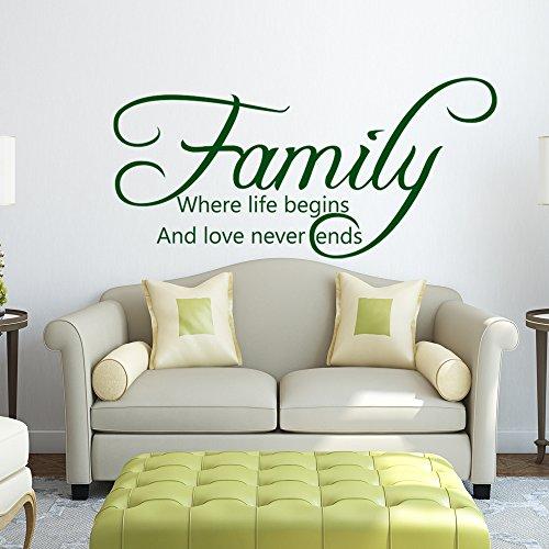 """DigTour WallArt Wandaufkleber mit Zitat Family Life Begins Love Never Ends Art Deco 32""""x72"""" Dunkelbraun"""