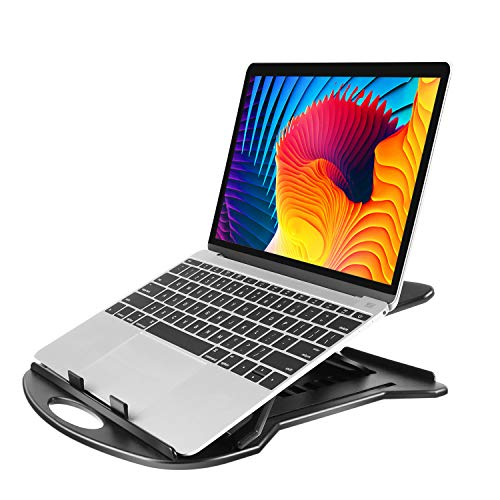 "Supporto Laptop Regolabile con Base Girevole a 360° & 7 Angoli di Inclinazione, Riser per Laptop Adatto a Laptop da 11-15.6"", Tablet, Notebook con Pad Antiscivolo & Retro Aperto Anti-Surriscaldamento"
