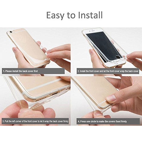 """Vorne Hinten TPU Rundumschutz Cover Handyhülle für Apple iPhone 7 Plus 5.5"""" - Yihya [ Full Body ] Dünn Transparente Gel Silikon Schutz Hülle Schutzhülle Protection Case Tasche - Rose Gold Gold"""