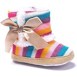 Zapatos de bebé, Amlaiworld Botas de bebé niña Botas de nieve arco iris suave caliente Zapatos de cuna 0-18 Mes (Tamaño:6-12Mes, Multicolor)