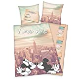 Herding DISNEY MICKEY & MINNIE IN NEW YORK Bettwäsche-Set, Wendemotiv, Bettbezug 135 x 200 cm, Kopfkissenbezug 80 x 80 cm, Polyester/Microfaser