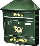 Briefkasten, Premium-Qualität aus Stahl, verzinkt, pulverbeschichtet Walmdach W grün dunkelgrün moosgrün Zeitungsfach Zeitungsrolle Postkasten NEU
