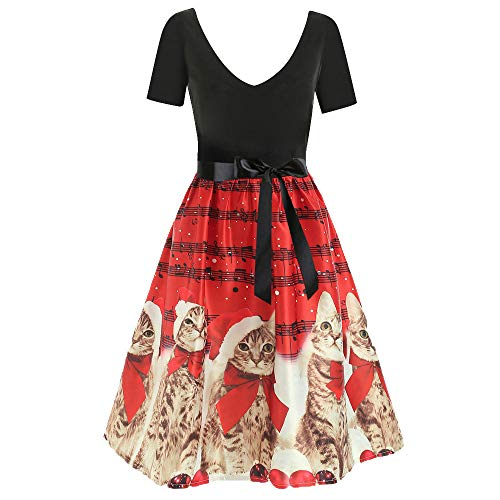 VEMOW Damen Elegantes Cocktailkleid Abendkleid Damen Mode Sleeveless Christmas Cats Musical Notes Print Beiläufig Täglich Vintage Flare Dress(X2-Rot, EU-36/CN-S)