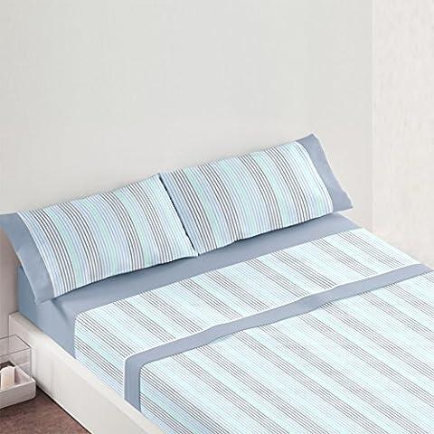 Burrito Blanco - Juego de Sábanas 687 para cama 135x190/200 cm, color azul