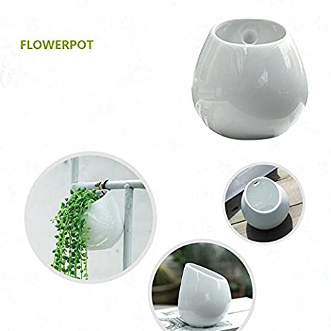 Agent J Pot de fleurs, extérieur Blanc en céramique Cactus Pot de fleurs artificielles Pots Pot de fleurs mural