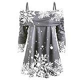 Tianwlio Damen Winter Langarmshirt Hoodie Pullover Mode Weihnachten Schneeflocke Drucken Langarm Lässige Sweatshirt Sling Top Grau L