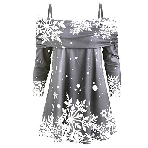 VEMOW Frühling Herbst Elegant Damen Aufflackernhülse Applique Flowy Chiffon V-Ausschnitt Appliques Casual Täglichen Party Langarm Bluse Tops(X2-a-a-Grau, EU-40/CN-L)