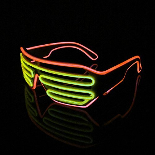 LERWAY 2 Bicolor EL Wire Leuchtbrille Leuchten LED Shutter Shade Brille Fun Konzert für Masquerade Party, Nacht Pub,Bar Klub Rave,70er 80er 90er Kostüm (Gelb+Orange ) (Halloween Rote Kostüm Gläser)