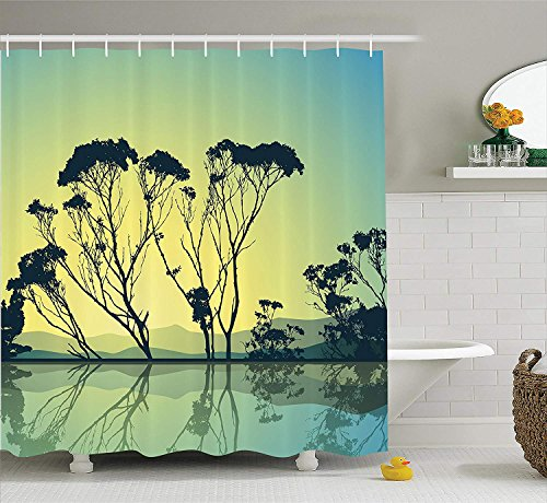 JIEKEIO Apartment Decor Shower Curtain Set, Crystal Tree Silhouettes with Reflections in The Water National Park Countyside Print, Bathroom Accessories,60 * 72inch inches, Blue Yellow Crystal Pom Poms