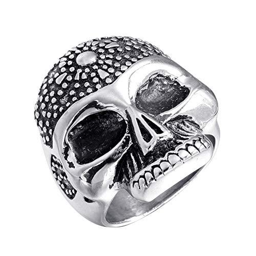 Rock Schädel Kopf Biker Ring aus Edelstahl Größe 70 (22.3) ()