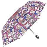 Leichter Damen Regenschirm mit Hunden/Katzen - Taschenschirm Perletti - kompakter Damenschirm für die Handtasche oder für die Reise - Schirm Automatik - Durchmesser 97 cm - Katzen Motiv (Katzen)