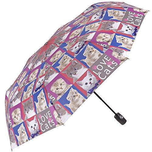 Paraguas de mujer gatos/perros, plegable y ligero – Mini Perletti – Paraguas de mujer compacto, de viaje y para bolso – Automático – 96 cm de diámetro – Estampado de gatos (gatos)