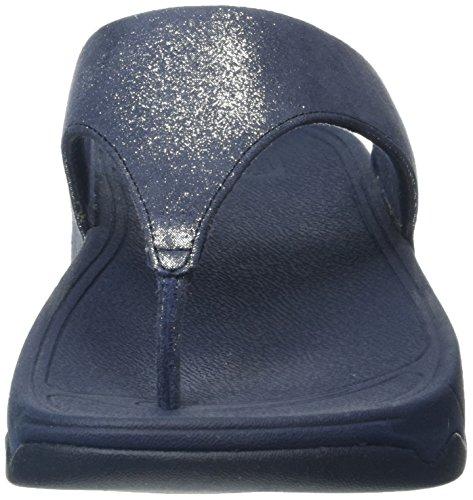 FitFlop Damen Lulu Tm Shimmersuede Flip-Flops Blau