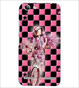 PrintDhaba Girl bicycling D-4165 Back Case Cover for LENOVO A6020a46 (Multi-Coloured)