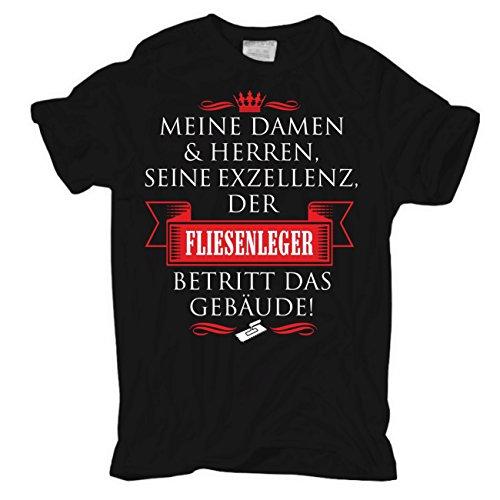 Männer und Herren T-Shirt Seine Exzellenz DER FLIESENLEGER Körperbetont schwarz