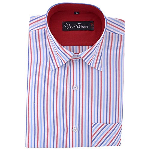Your Desire Shirts Men Cotton Navy Blue and Red Formal Shirt (Size 42)
