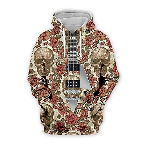 zlhcich Herbst Neue Paar Pullover Männer europäischen Kragen langärmelige Kapuze Kopf kreative 3D gedruckte Gitarren-Pullover