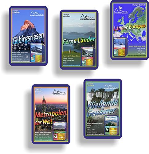 Wendels Kartenspiele Fünferpack: Berge, Flüsse, Städte, Ferne Länder und Länder Europas Trumpf-Quartett