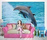 Fototapete PAAR DELFINE 250x170cm Bildtapete Wandbild Wandtatoo Kinder Bordüre dolphins wall mural wallpaper
