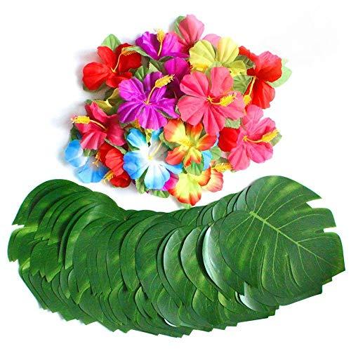 YLYP Palmblätter und Silk Hibiscus Tropical Party Tischdekoration, für Hawaiian Party Party Dschungel Strand Thema Desktop Dekoration (größe : 42 Leaves+24 Flowers)