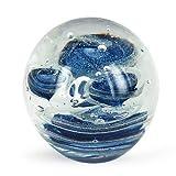 Briefbeschwerer Glaskugel, blau, 8 cm