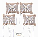 4piezas Cinta de encaje de arpillera Mini tamaño de bolsillo de yute almohadas cojines de almohada de anillo boda Mariage partido DIY decoración jardín casa adornos...