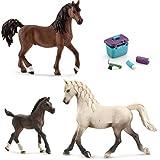 Schleich - Araber Familie (13761 + 13762 + 13811) + 42366 Pferdepflege