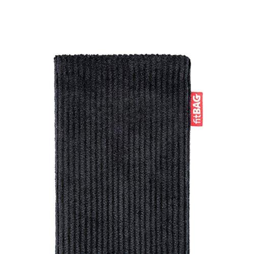 fitBAG Rave Smaragd Handytasche Tasche aus Textil-Stoff mit Microfaserinnenfutter für Apple iPhone 6 / 6S / 7 mit Apple Silikon Case Retro Schwarz