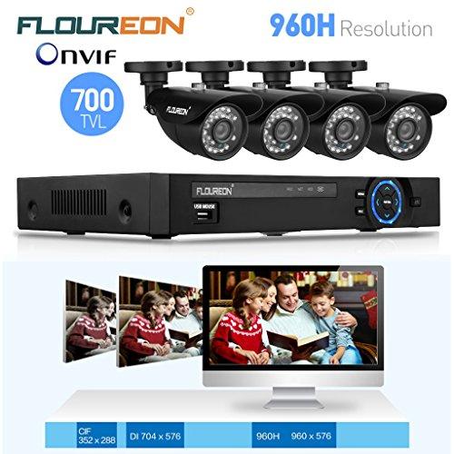 FLOUREON Cámaras de Vigilancia Kits CCTV (1 X 8CH 960H DVR Onvif 1080P NVR + 4 X Cámaras Balas 700TVL Impermeable IR-CUT HDMI) (700TVL)