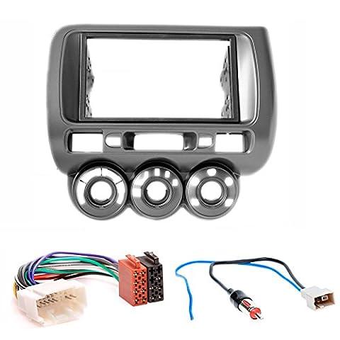 carav 11–464-12-2 Doppel DIN Autoradio Radioblende Einbauset DVD Dash Installation Kit für Honda Fit, Jazz 2002–2008 Manuelle Klimaanlage Faszie mit ISO Adapter und Antennenadapter