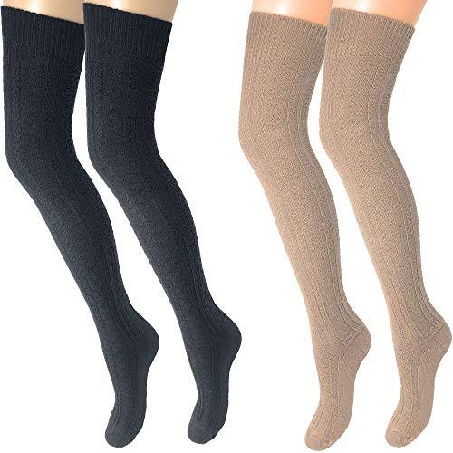 Rusoji Damen lange Oberschenkel hoch über das Knie hoch Baumwollmischung Häkeln Stiefel Socken Beinwärmer Strümpfe 2 Paar - mehrfarbig - Einheitsgröße