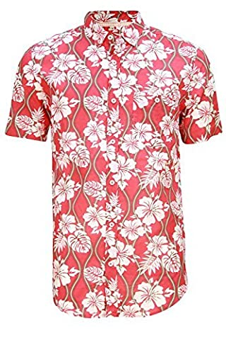 Soulstar Tiki2 Mens Hibiscus Print Hawaiian Shirt - Red -