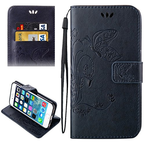 Wkae Case & Cover Pour iPhone 5 &5s &SE Crazy Horse Texture Printing Horizontal Flip en cuir avec support &Card Slots &Wallet &Longe ( Color : Dark Blue ) Dark Blue