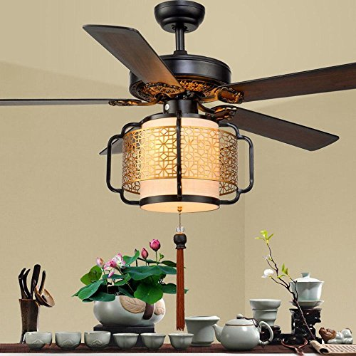 Fan Lights Wohnzimmer Esszimmer Schlafzimmer Deckenventilator Lichter Holz Foliage Birdcage LED Fernbedienung stillen Lüfter Kronleuchter,D,42 cm DEN (Licht-fan Fernbedienung,)